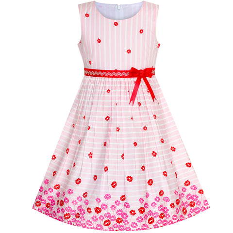 Girls Dress Pink Flower Cotton Sleeveless Sundress Size 4-12 Years