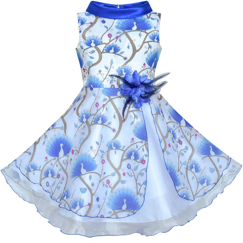 Flower Girls Dress Blue Peacock Wedding Bridesmaid Size 6-12 Years