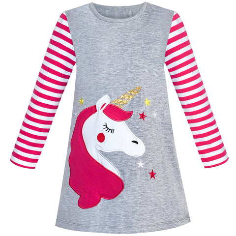 Girls Dress Cotton Long Sleeve Unicorn Embroidery Gray Size 2-6 Years