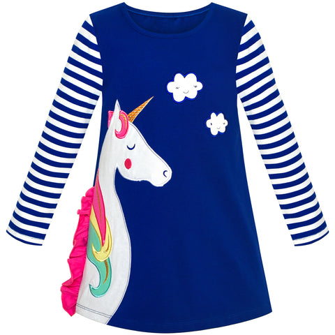 Girls Dress Cotton Long Sleeve Unicorn Embroidery Navy Blue Size 2-6 Years