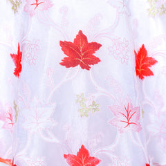 Flower Girls Dress Off Shoulder Maple Leave Coral Pageant Size 6-12 Years