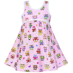 Girls Dress Sleeveless Pink Owl A-line Cotton Casual Size 2-6 Years
