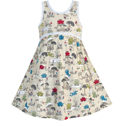 Girls Dress Sleeveless Mushrooms Frog Cotton Casual Size 2-6 Years