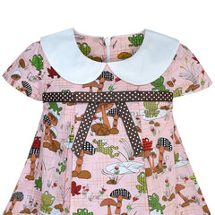 Girls Dress White Collar Frog Mushroom A-line Cotton Causal Size 2-6 Years