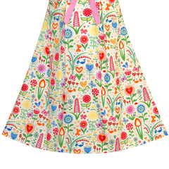 Girls Dress White Collar Floral A-line Cotton Causal Size 2-6 Years