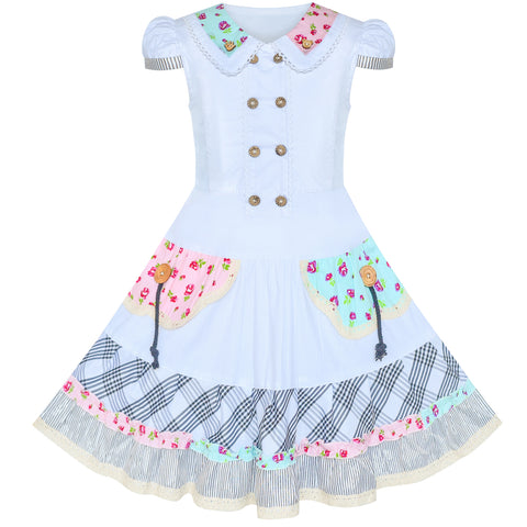 Girls Dress White Button Casual Short Sleeve Everyday Size 6-14 Years
