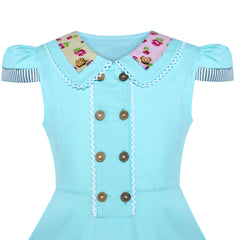 Girls Dress Blue Button Casual Short Sleeve Everyday Size 6-14 Years