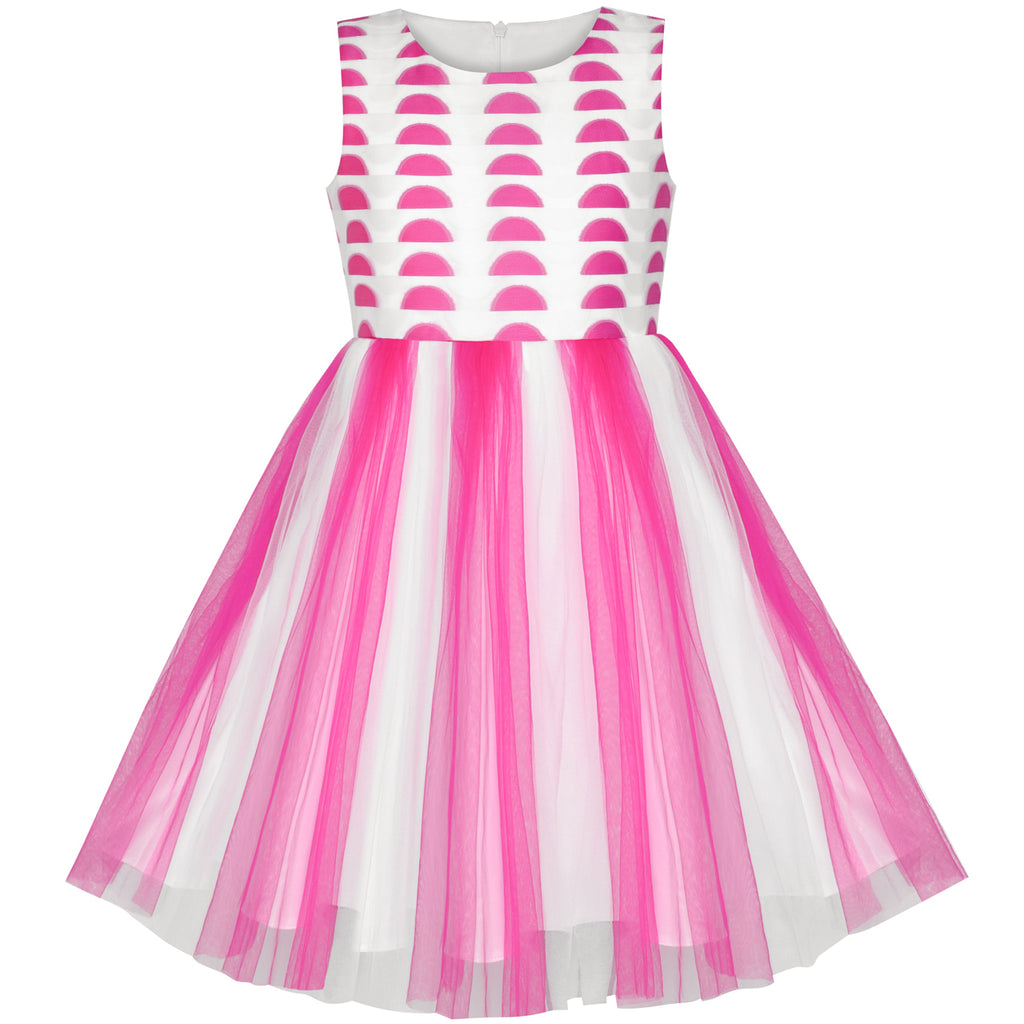 Girls Dress Color Contrast Pink Rainbow Unicorn Party Size 7-14 Years