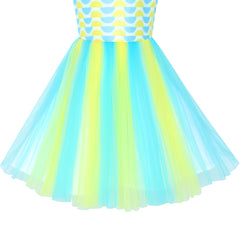 Girls Dress Color Contrast Blue Rainbow Unicorn Party Size 7-14 Years
