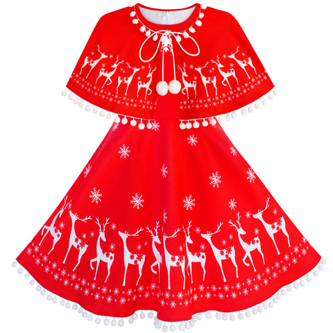 Girls Dress Reindeer Red Cape Cloak Christmas New Year Size 4-14 Years