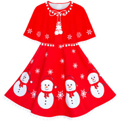 Girls Dress Snowman Red Cape Cloak Christmas New Year Size 4-14 Years