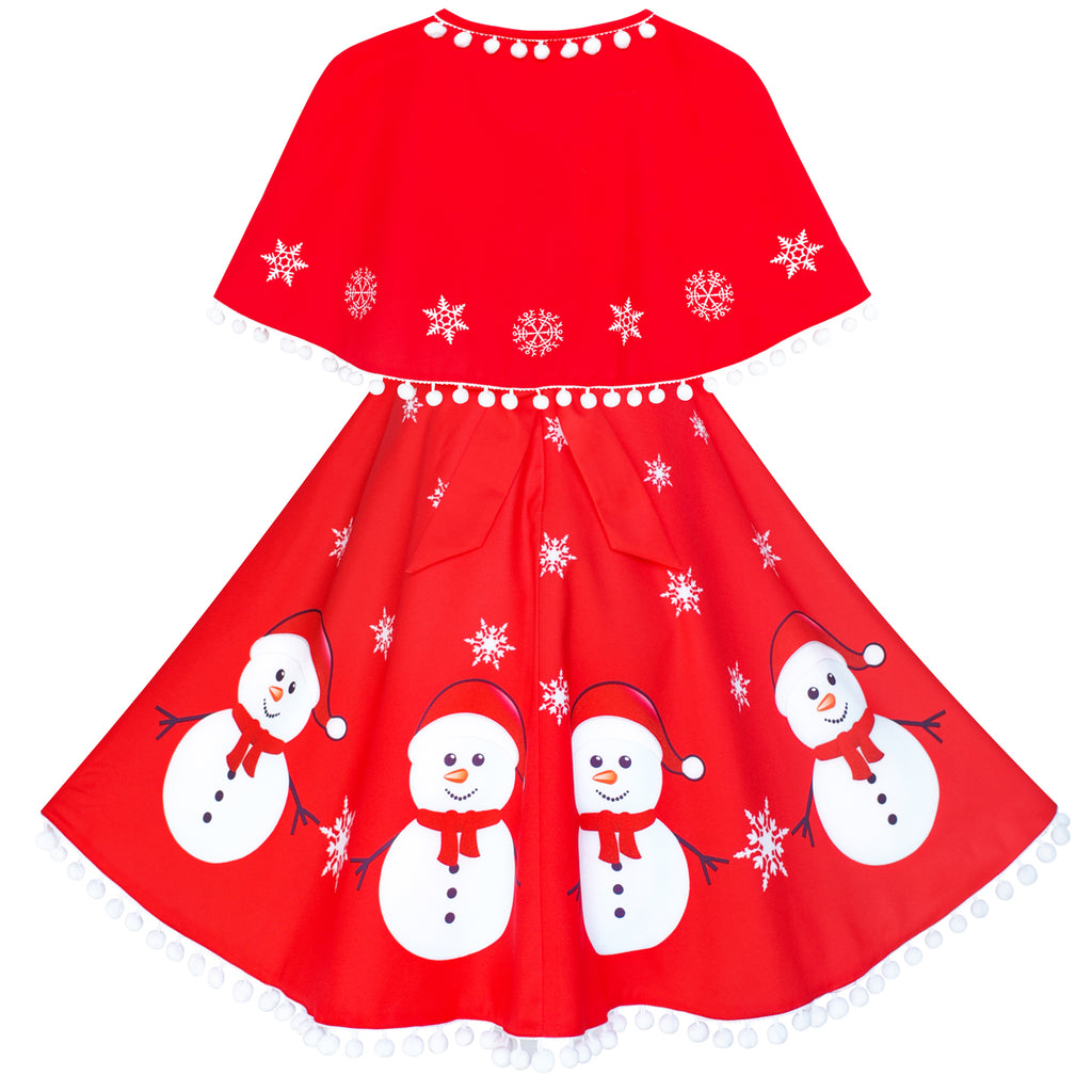 0e0dec70d35f9 Girls Dress Snowman Red Cape Cloak Christmas New Year – Sunny Fashion