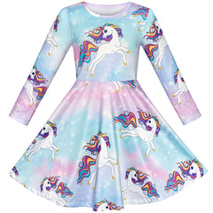 Girls Dress Unicorn Rainbow Casual Long Sleeve Size 5-10 Years