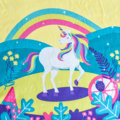Girls Dress Unicorn Rainbow Cartoon Yellow Princess Size 4-12 Years