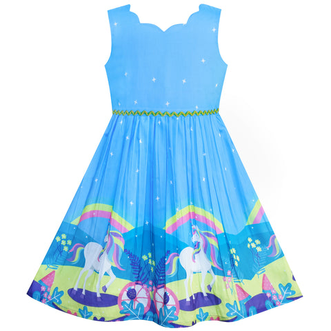 Girls Dress Unicorn Rainbow Blue Cartoon Princess Size 4-12 Years