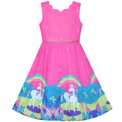 Girls Dress Unicorn Rainbow Sleeveless Deep Pink Princess Size 4-12 Years