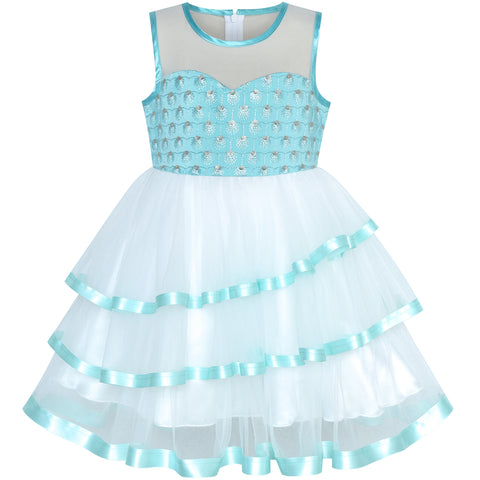 Flower Girls Dress Tiered Ruffle Skirt Blue Pageant Size 6-12 Years