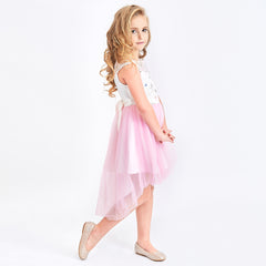 Flower Girls Dress Pink Hi-low Skirt Wedding Party Size 3-14 Years
