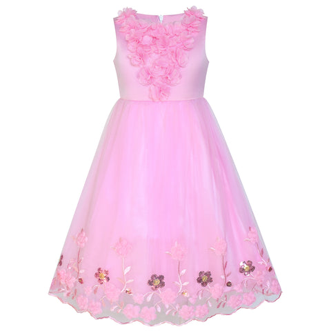 Flower Girls Dress Pink Sequin 3D Flowers Size 4-14 Years