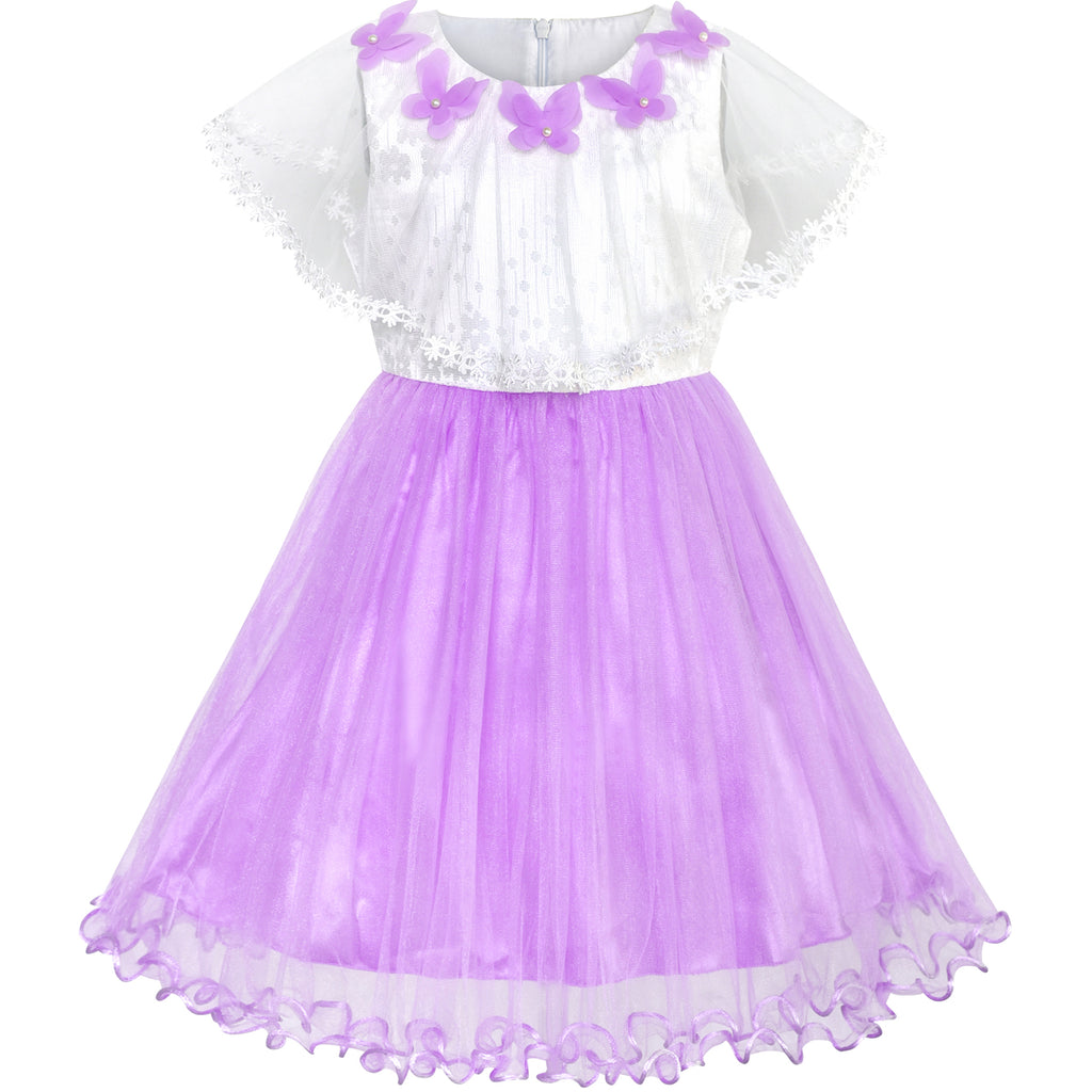 Girls Dress Cape Cloak Dress Purple Butterfly Wedding Size 5-12 Years
