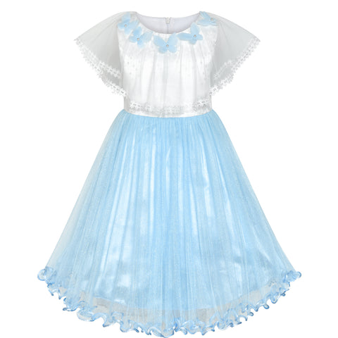 Girls Dress Cape Cloak Dress Blue Butterfly Wedding Size 5-12 Years