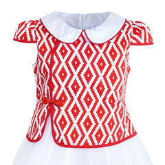 Girls Dress 2-in-1 Red Plaid White Collar Tulle Size 7-14 Years