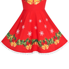 Girls Dress Jingle Bell Red Cape Cloak Christmas New Year Size 4-14 Years