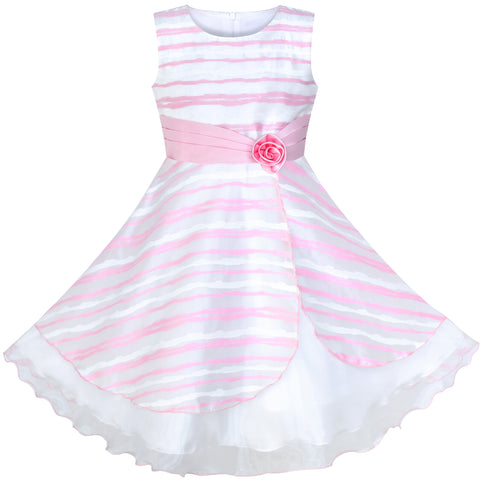 Girls Dress Pink Stripe Flower New Year Birthday Party Size 4-12 Years