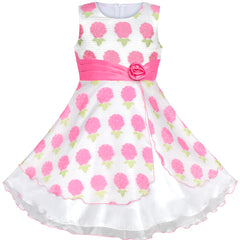 Girls Dress Pink Floral Hydrangea Easter Birthday Party Size 4-12 Years