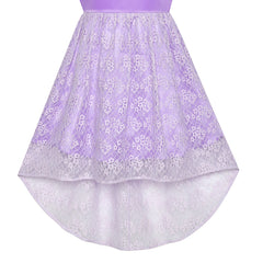 Girls Dress Purple Off Shoulder Hi-low Skirt Bridesmaid Size 7-14 Years