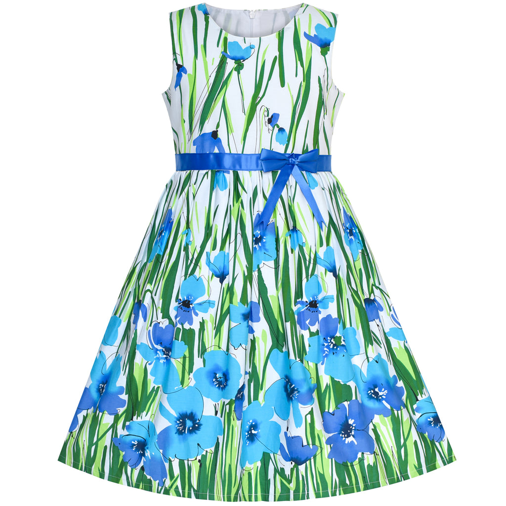 Girls Dress Blue Flower Cotton Sleeveless Sundress Size 4-12 Years