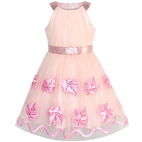 Girls Dress Pink Maple Leaf Embroidered Halter Dress Size 6-12 Years