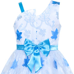 Girls Dress One-shoulder Blue Maple Leaf Pageant Wedding Size 6-12 Years