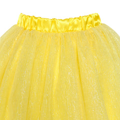 Girls Skirt Yellow 3-layers Tutu Dancing Ballet Size 4-10 Years