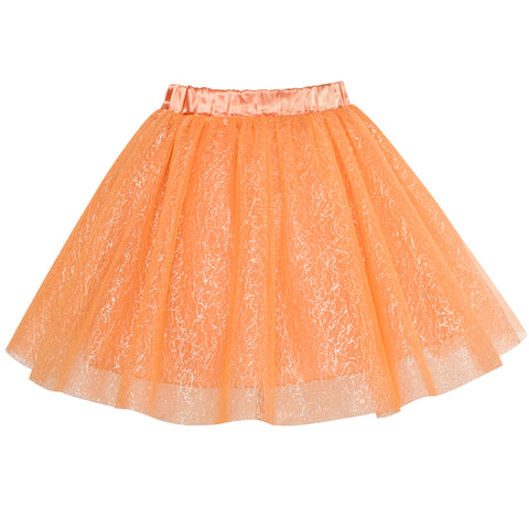 Girls Skirt Orange 3-layers Tutu Dancing Ballet Size 4-10 Years