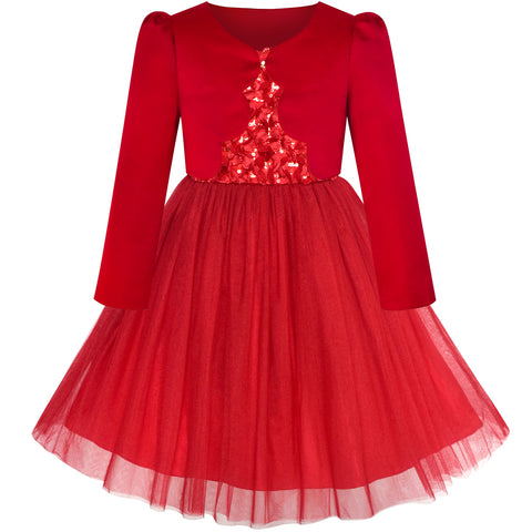 Flower Girls Dress Red Long Sleeve Shrug Bolero Size 6-12 Years