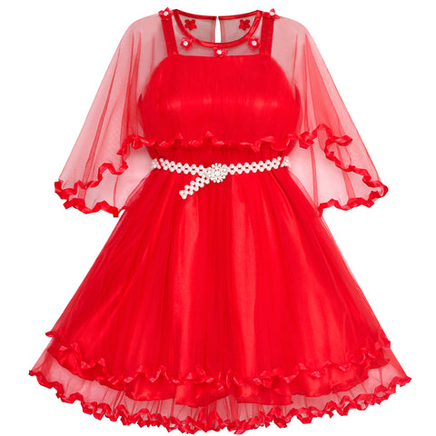 Girls Dress Red Cape Pearl Belt Wedding Party Size 3-14 Years