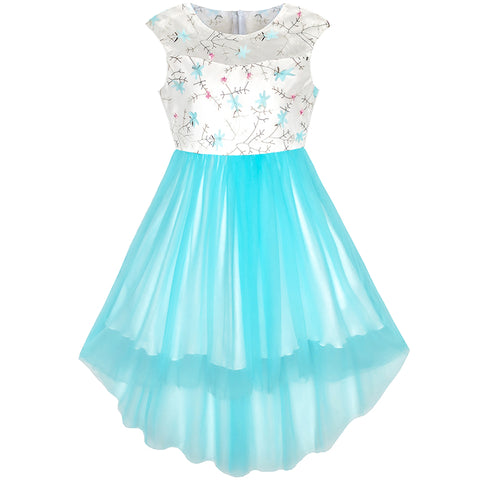 Flower Girls Dress Blue Hi-low Skirt Wedding Party Size 3-14 Years