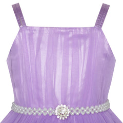 Girls Dress Purple Cape Pearl Belt Wedding Party Size 3-14 Years