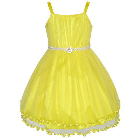 Girls Dress Yellow Cape Pearl Belt Wedding Party Size 3-14 Years