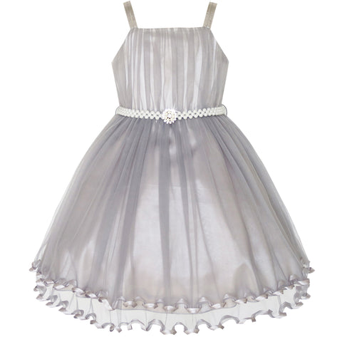 Girls Dress Gray Cape Pearl Belt Wedding Party Size 3-14 Years