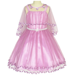 Girls Dress Orchid Cape Pearl Belt Wedding Party Size 3-14 Years
