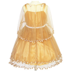 Girls Dress Ginger Cape Pearl Belt Wedding Party Size 3-14 Years