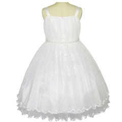 Girls Dress Off White Cape Pearl Belt Wedding Party Size 3-14 Years