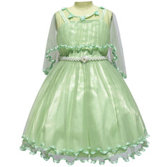 Girls Dress Green Cape Pearl Belt Wedding Party Size 3-14 Years