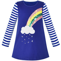 Girls Casual Dress Rainbow Sequins Embroidered Long Sleeve Size 2-6 Years