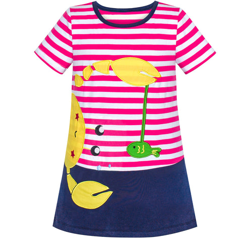 Girls Dress Cotton Crab Fish Embroidered Short Sleeve Size 2-6 Years