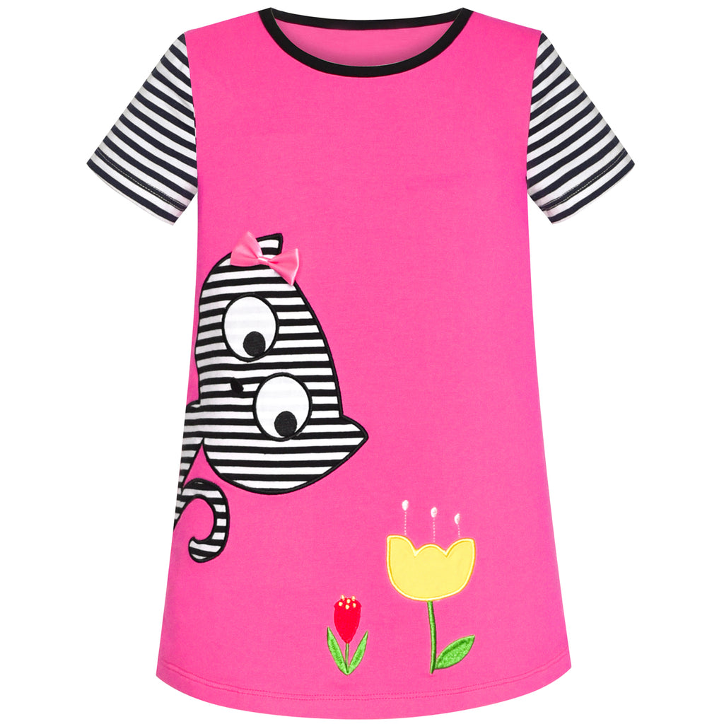 Girls Dress Cotton Cat Flower Embroidered Short Sleeve Size 2-6 Years