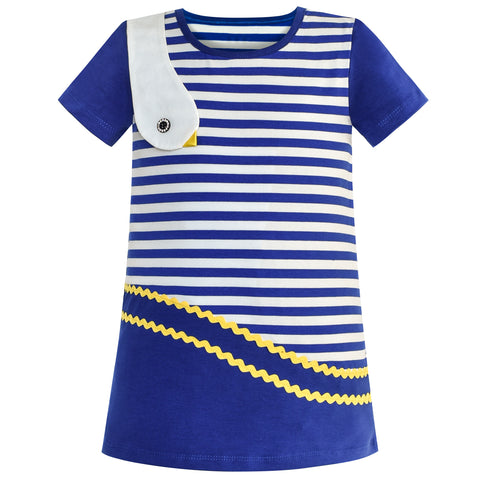 Girls Dress Cotton Navy Blue Stripe Bird Embroidered Size 2-6 Years