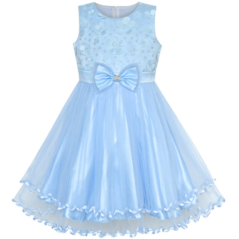 Flower Girl Dress Blue Bridesmaid Wedding Pageant Size 2-10 Years
